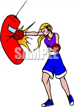 0511-1008-3020-0652_Female_Boxing_Practicing_on_a_Body_Bag_clipart_image.jpg